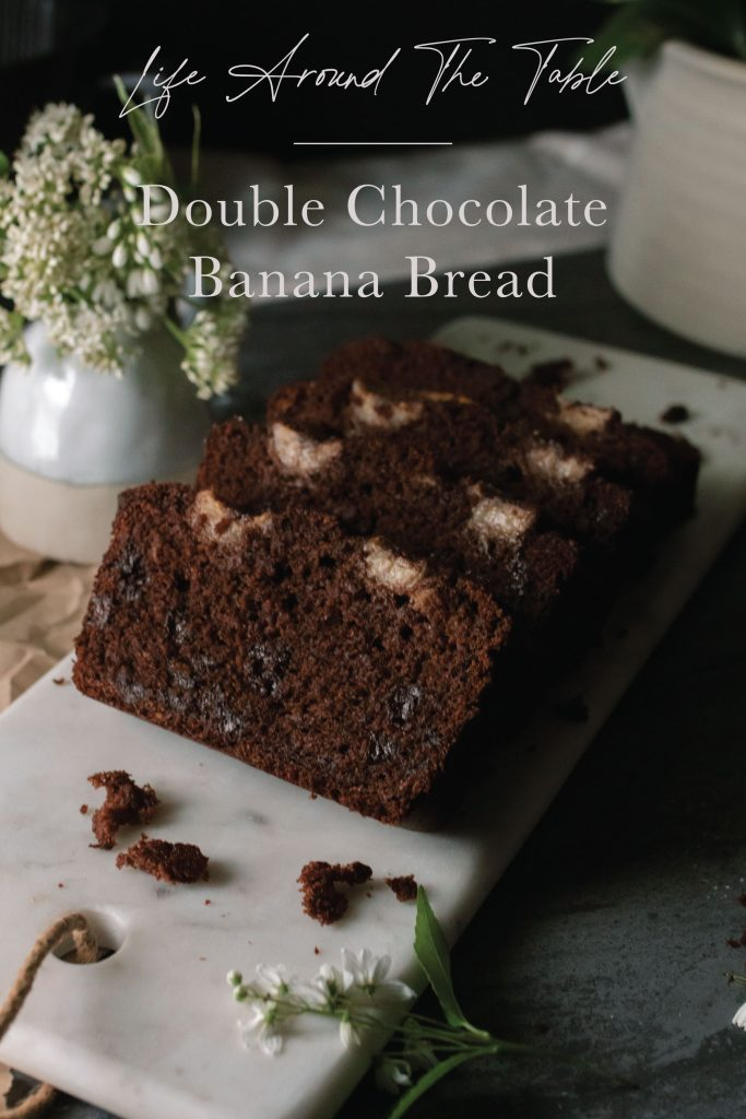 Pinterest pin for Double Chocolate Banana Bread with text at the top.