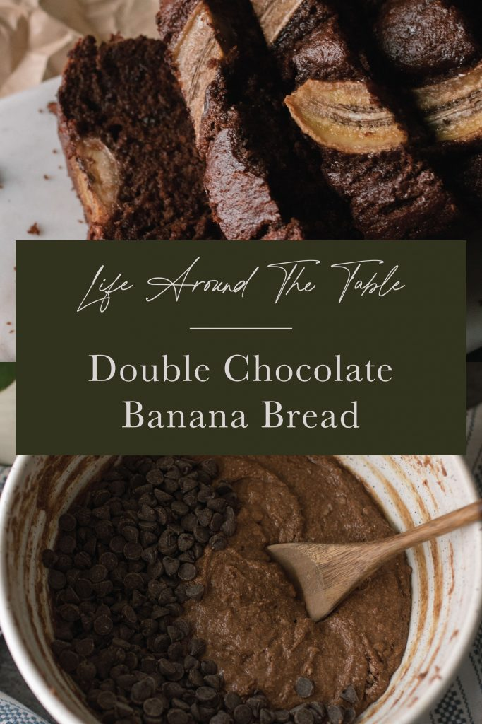Pinterest pin for Double Chocolate Banana Bread with text centered.