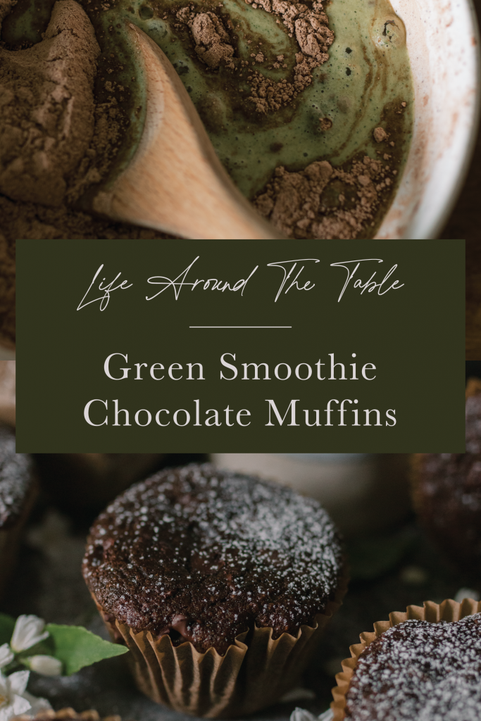 Pinterest Pin for Green Smoothie Chocolate Muffins featuring two images, one on top of the other, from the muffin blog post and text overlay.